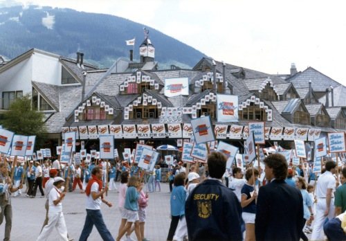 Village Square was turned into a central convention space and outdoor billboard for all of the contenders (at least those who could afford the temporary real estate for their signs). Photo from the Arv Pellegrin collection/WMAS.