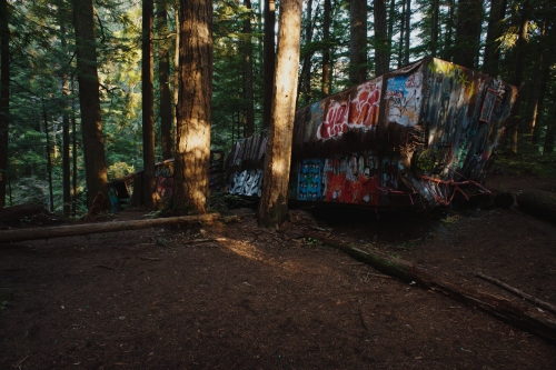 The unique ambiance of these colourfully graffitid boxcars amidst mature, open forest (not to mention the impressive mountain bike stunts) makes for one of the Whistler Valley's favourite attractions.