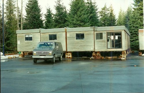 Moving the trailers to Main Street, 1994. Photo: Whistler Public Library
