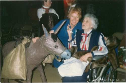 """Molly Boyd with Myrtle Philip at the first performance of """"Christmas at Rainbow Lodge""""."""