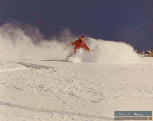 Skiing Whistler Mountain in the 1970s.  Benjamin collection.