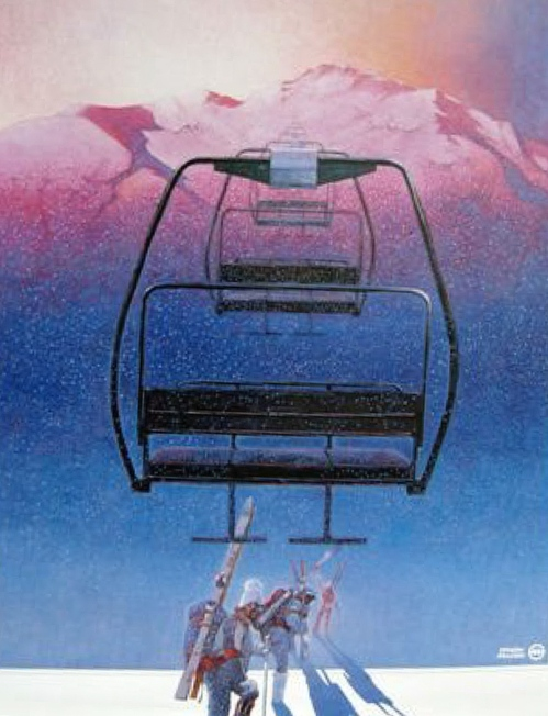 The first poster advertising the new Peak Chair.