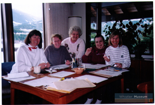 The Whistler Museum and Archives cookbook committee, April 1977: Janet Love-Morrison, Florence Petersen (founder of the Whistler Museum and Archives Society), Darlyne Christian and Caroline Cluer.
