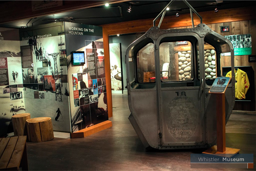 An original gondola from Whistler Mountain sits proudly as part of our exhibits.